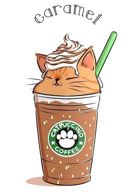 These 24 kawaii cat stickers are perfect for any cat and coffee lover in your life! caramel coffee cappuccino | Cute kawaii drawings, Cute art, Kawaii drawings