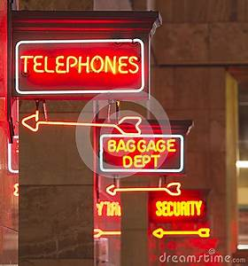 Red Neon Sign Indoor Depot Signage Arrow Points Baggage