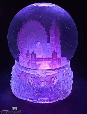 large light up london collage snowstorm snow globe