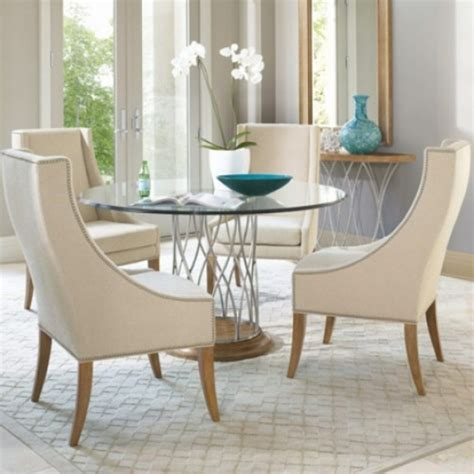 Modern Round Glass Dining Table Set For 4 Homedcincom