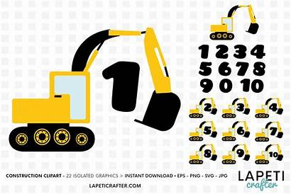 Excavator Construction Clipart Numbers Birthday Svg Yellow