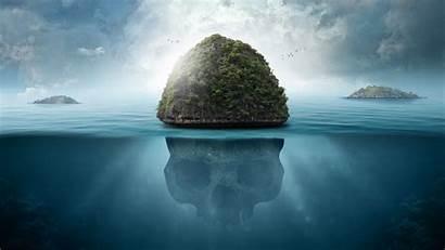 Skull Underwater Island 4k Background Uhd Secrets