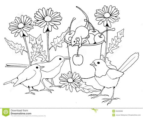 Birds And Mice With Flowers, Coloring Page Stock