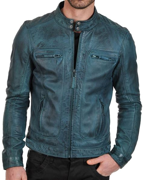 leather apparel men s teal european style waxed leather fashion jacket