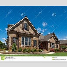 Model Luxury Home Exterior Angle View Sidewalk Stock Image