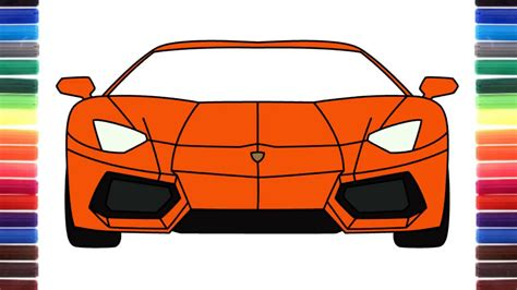 How To Draw A Car Lamborghini Aventador Front View Step By
