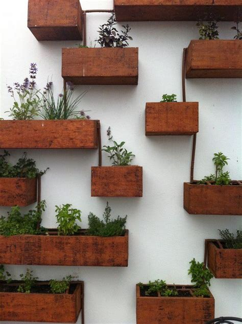 Indoor Herb Garden Pot Planters Ideas by Wall Mounted Wooden Boxes Living Wall Planter Ideas