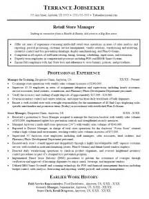 retail sales manager description resume resume sle for retail sales store manager