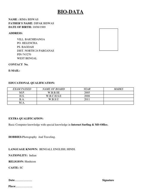 Biodata Format by Simple Biodata Format
