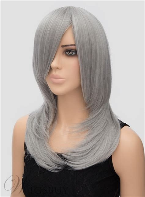 dark grey long straight synthetic hair wig  cosplay