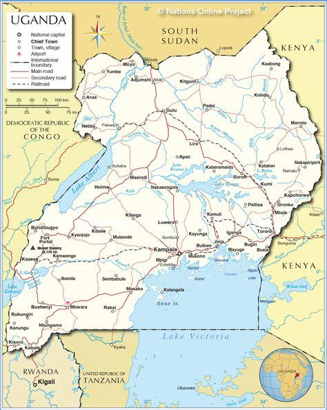 uganda politische karte