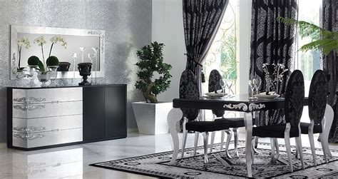 luxus upholstered black and silver leaf oval backed dining