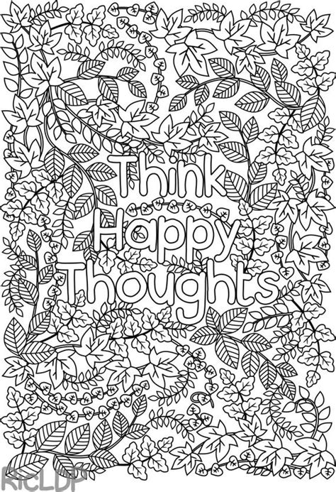 printable  happy thoughts coloring page