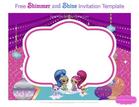 shimmer and shine invitation template free shimmer and shine