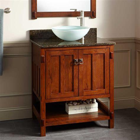 bathroom vanity with shelf 30 quot harington oak vessel sink vanity bathroom