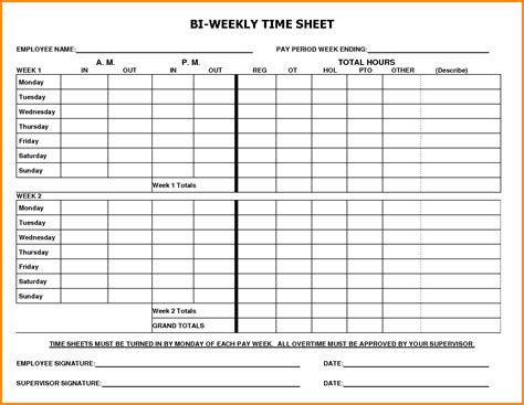 Timesheet Template Bi Weekly Timesheet Template Gallery Professional Report