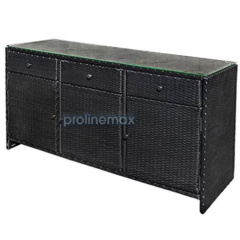 black 3 drawers wicker rattan buffet serving cabinet table