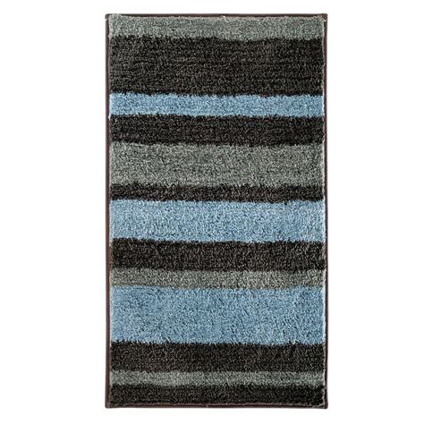microfiber bath rug gray blue stripe pattern