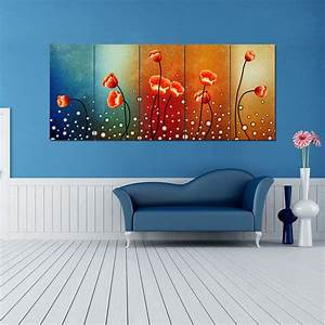 Ready to hang large panels flowers modern hd canvas