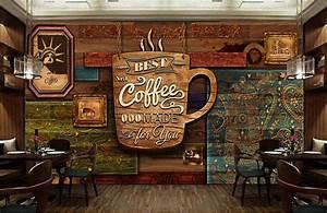 Custom food store wallpaper,Wood pattern coffee,3D retro