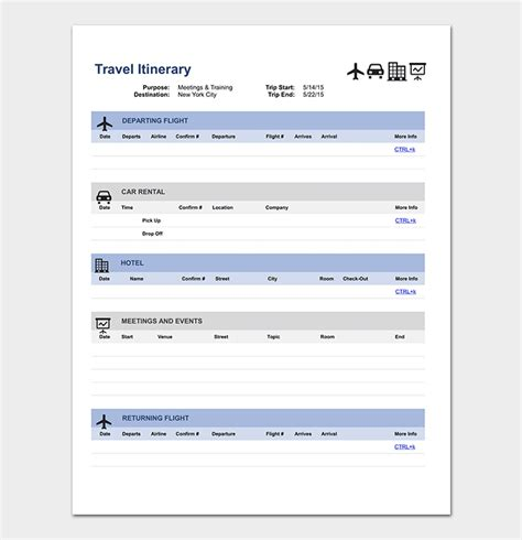 Travel Itinerary Templates by Travel Planner Template Doc Lifehacked1st