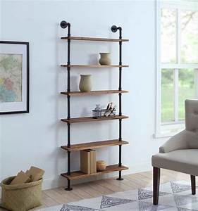 4d, Concepts, 621160, Anacortes, Six, Shelf, Piping, -, Black, Pipe, With, Brown, Shelves