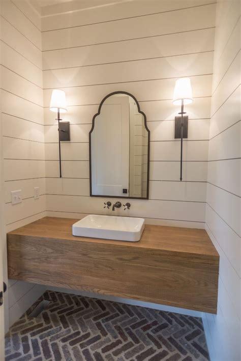 powder bath  herringbone brick floors  custom