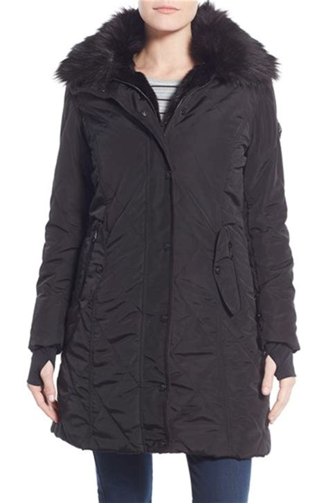 Lyst - Nanette lepore Faux Fur Lined Quilted Coat in Black