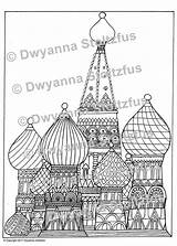 Saint Cathedral Coloring Coloriage Basil Basile Cathedrale Template Ohbq Basils sketch template