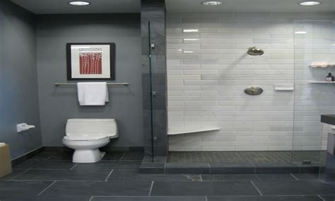 purple bath decor grey bathroom tile shower floor