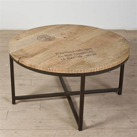 coffee tables ideas top round industrial coffee table with round reclaimed wooden top
