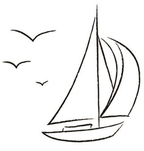 Boat Drawing Outline by Free Vector Chalk Sailboat With Birds Outline Vector