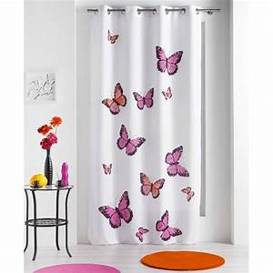 Rideau Occultant Enfant : rideau papillons bella rose 140x240cm ~ Teatrodelosmanantiales.com Idées de Décoration