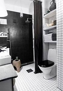 Carrelage Salle De Bain Noir Et Blanc : petite salle de bain carrelage noir et blanc avec douche italienne ~ Dallasstarsshop.com Idées de Décoration