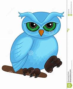 Cute Cartoon Blue Owl On A Branch Stock Vector - Image ...