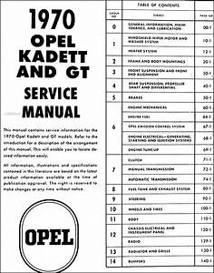 1970 Opel Kadett  U0026 Gt Repair Shop Manual Original