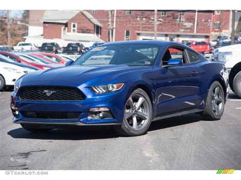 deep impact blue metallic ford mustang  coupe