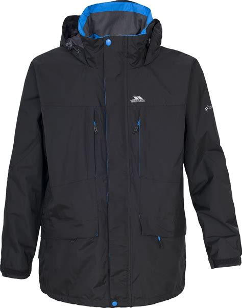 Mens TRESPASS Waterproof 2000mm Long Rain Jacket Coat BLACK Size XS S M L XL | eBay