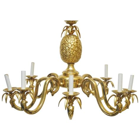 pineapple hanging light fixtures large scale solid brass pineapple chandelier at 1stdibs