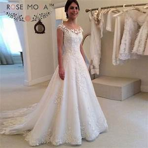 Aliexpresscom buy sheer bateau neck short cap sleeves for A line cap sleeve lace wedding dress