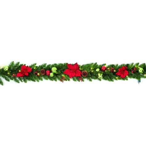 pre lit poinsettia garland premier decorations 1 8m pre lit battery operated poinsettia garland with warm white led s
