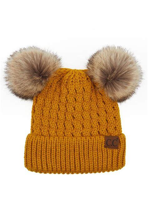 cc double pom pom cable knit beanie hat