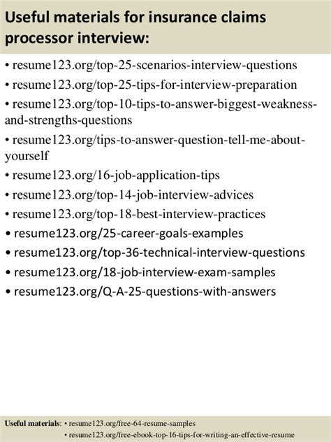 top 8 insurance claims processor resume sles