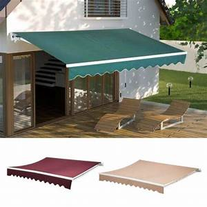Patio Manual Retractable Deck Awning Sun Shade Shelter