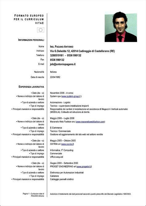 formato curriculum vitae 2016 formato curriculum vitae