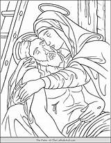 Coloring Pieta Jesus Mary Thecatholickid Catholic Kid Lent Printable Colouring Children Mother Crucifixion Church Bible Prayer Games sketch template