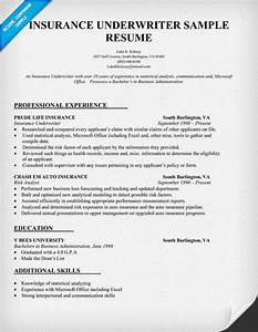 Insurance underwriter resume sample resume samples for Insurance resumes search