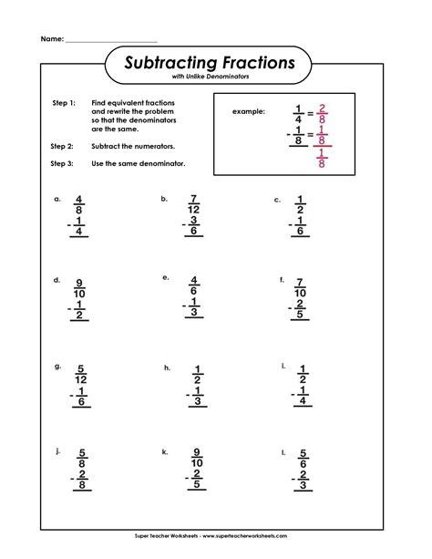 5th grade math worksheet addition and subtraction subtracting fractions with unlike denominators