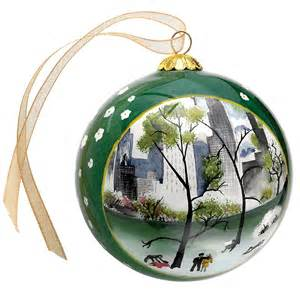 dehn spring in central park reverse painted christmas ornament holiday clearance sale