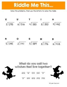 halloween long division math riddles  snyder classroom tpt